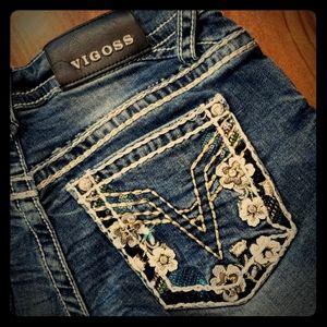 Vigoss 26 Leather Floral Jean Cut Off Short Sequin